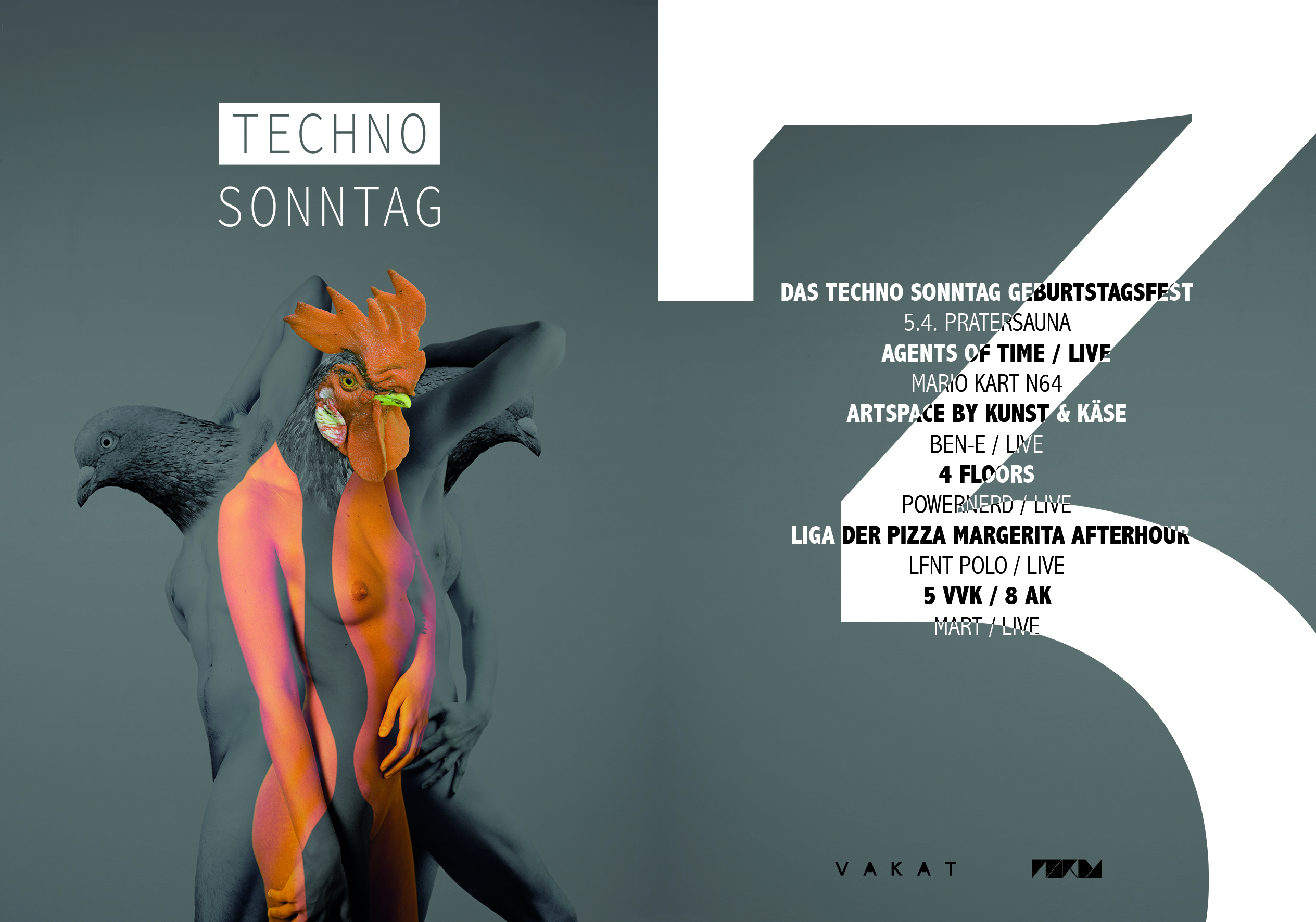 VAKAT grafik Flyer design Techno Sonntag