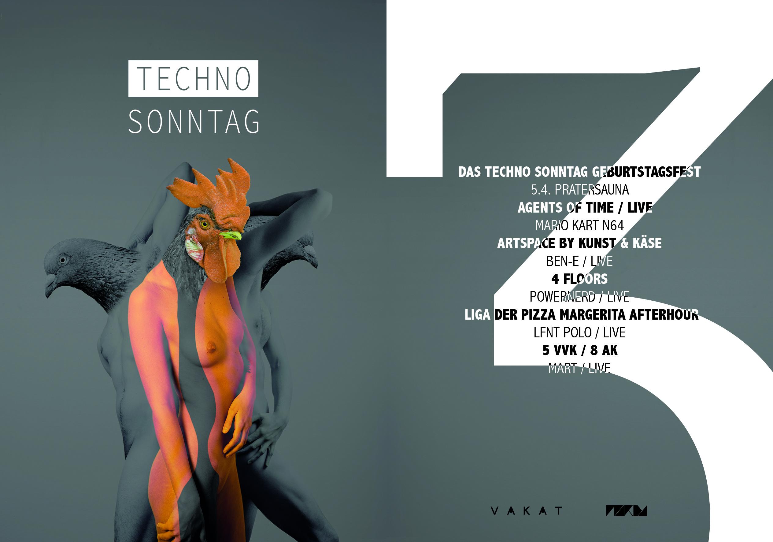 VAKAT grafik Flyer design Techno Sonntag